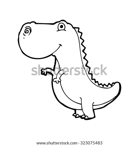 simple black and white line drawing cartoon  dinosaur - stock vector