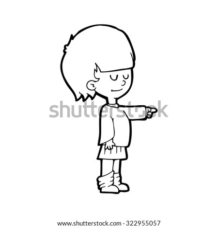 simple black and white line drawing cartoon  girl pointing - stock vector