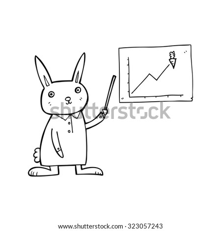 simple black and white line drawing cartoon  rabbit - stock vector