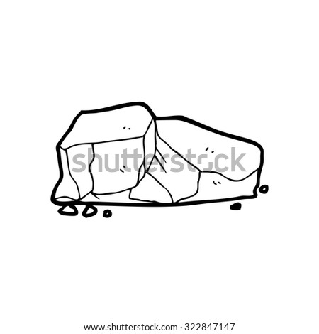 simple black and white line drawing cartoon  rocks - stock vector