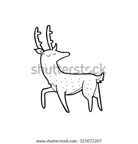 simple black and white line drawing cartoon  stag - stock vector