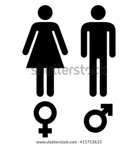 simple black and white male and female human symbols - stock vector