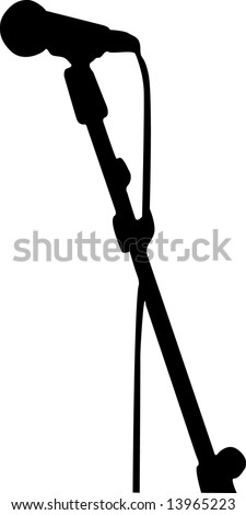 simple black and white microphone - stock vector