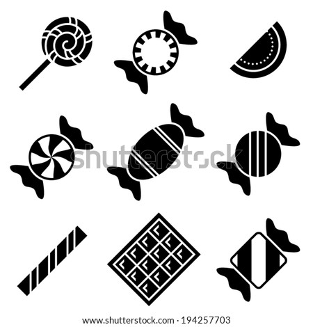 Simple black and white vector candy icons - stock vector