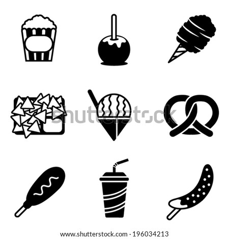 Simple black and white vector carnival snack icons - stock vector