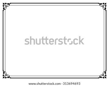 simple black ornamental decorative frame - stock vector