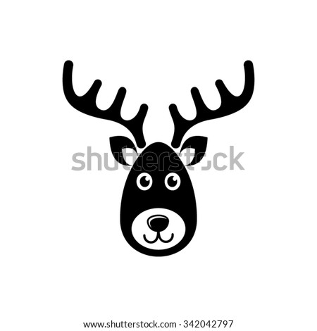 Simple black vector reindeer face christmas icon - stock vector