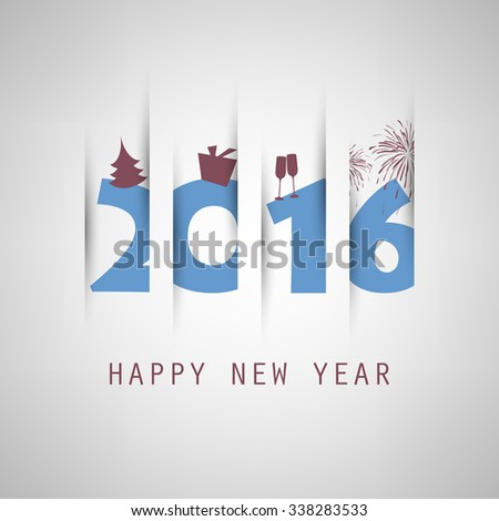 Simple Blue New Year Card, Cover or Background Design Template With Holiday Icons - 2016 - stock vector