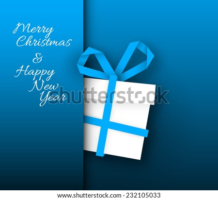 Simple blue vector christmas present box made from paper stripe - original new year card - stock vector