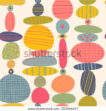 Simple bright pattern of abstract shapes. Vector seamless background. - stock vector