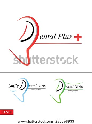 Simple but modern Dental logo with 3 combinations & color variations. - stock vector
