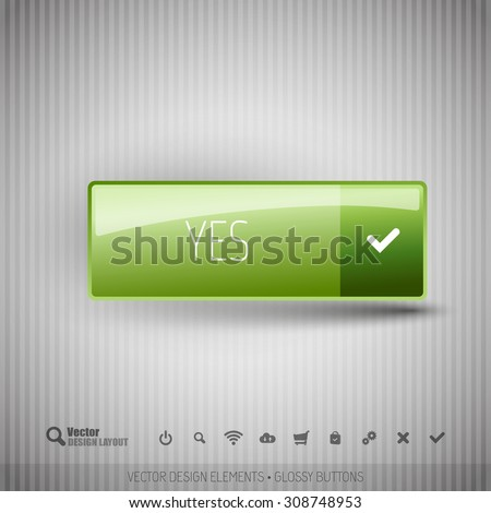 Simple button on the neutral gray background with icons. - stock vector