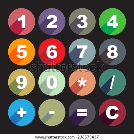 Simple calculator buttons in flat design - stock vector