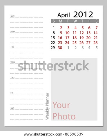 Simple 2012 calendar, April.  All elements are layered separately in vector file. Easy editable. - stock vector