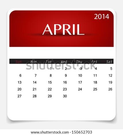 Simple 2014 calendar, April. Vector illustration. - stock vector