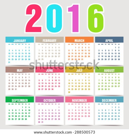 Simple 2016 Calendar. 2016 calendar design. 2016 calendar vertical, week starts with Sunday  - stock vector