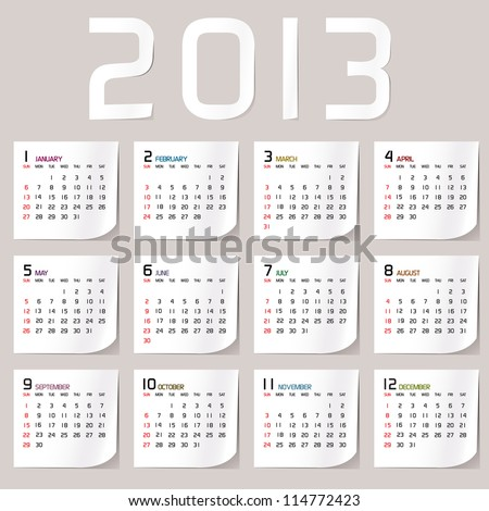 Simple 2013 Calendar / 2013 calendar design - week starts with sunday - stock vector
