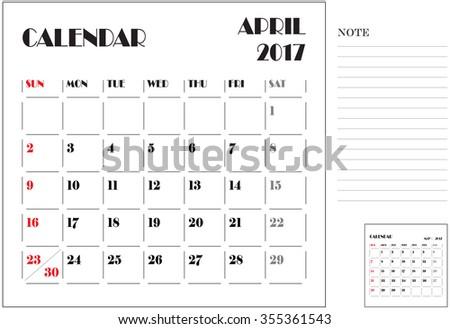simple 2017 calendar, 2017 calendar paper design, week starts with Sunday, April - stock vector