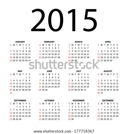 Simple calendar for 2015 on white background. Vector EPS10. - stock vector