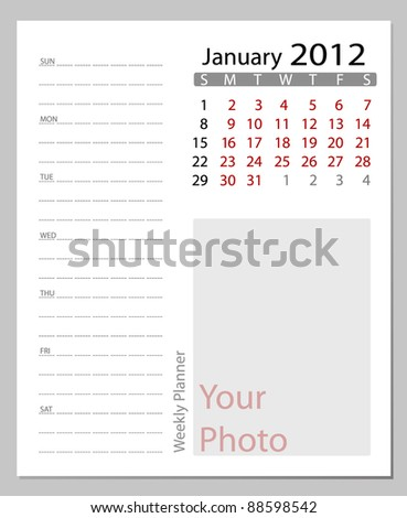 Simple 2012 calendar,January.  All elements are layered separately in vector file. Easy editable. - stock vector