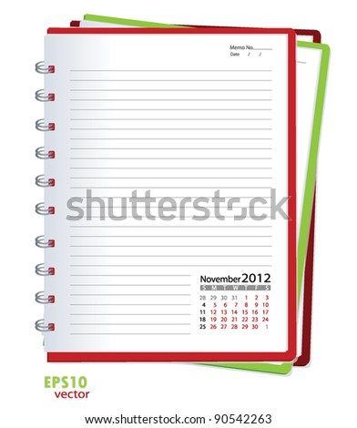 Simple 2012 calendar notebook, November. All elements are layered separately in vector file. Easy editable. - stock vector