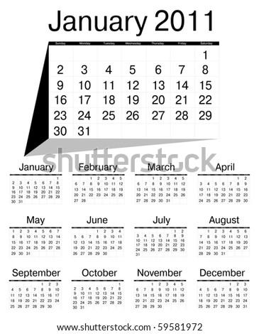 Simple calendar of 2011 - stock vector