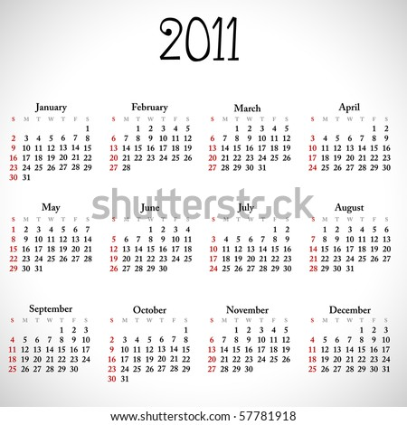 Simple calendar of 2011, easy to edit. Vector illustration. - stock vector