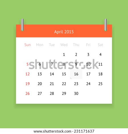 Simple calendar page for April 2015 on green background - stock vector