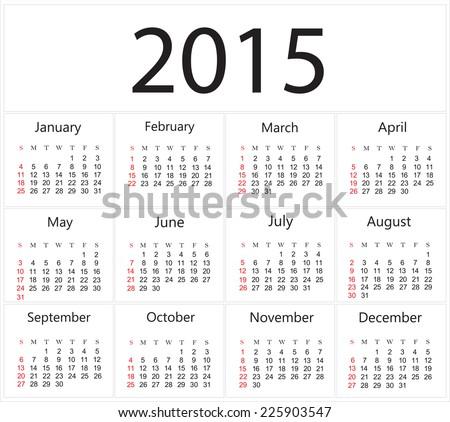 Simple calendar  2015.Vector illustration. - stock vector