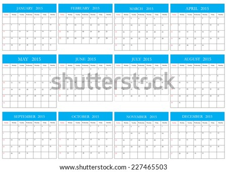 Simple calendar 2015.Vector illustration.Planning calendar. - stock vector