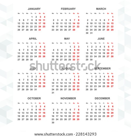 Simple 2015 calendar vector - week starts monday vertical - stock vector