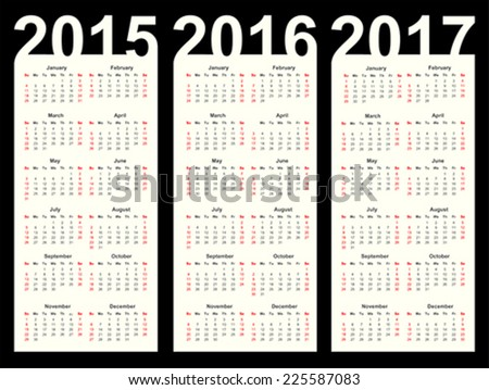 Simple Calendar year 2015, 2016, 2017, vector - stock vector