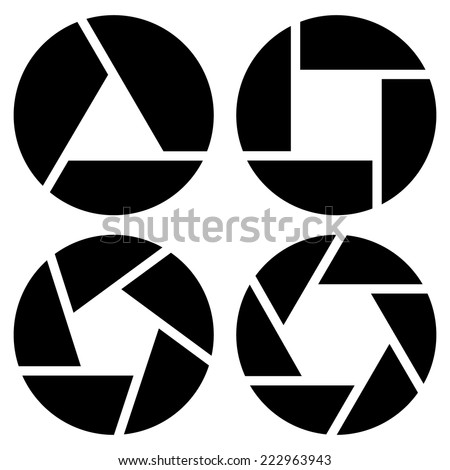 Simple camera shutter silhouettes, symbols. Eps 10 - stock vector