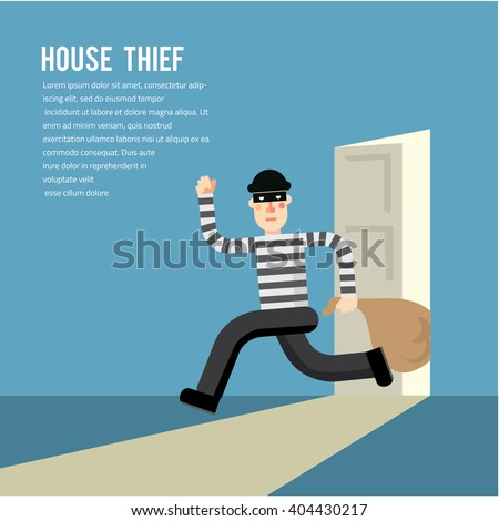 Simple cartoon of a burglar break into a house in flat stele/ Vector illustration - stock vector