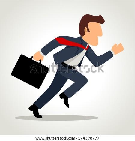 Simple cartoon of a businessman running - stock vector