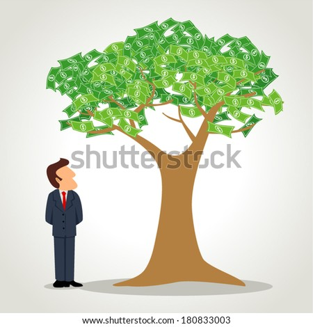 Simple cartoon of a businessman standing next to the money tree - stock vector