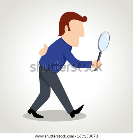 Simple cartoon of a man figure using a magnifying glass - stock vector