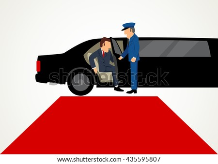 Simple cartoon of businessman getting out from limousine in front of the red carpet, business, success, vip concept - stock vector