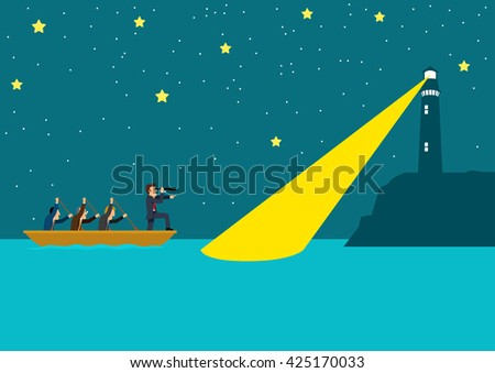 Simple cartoon of businessmen rowing the boat at night, teamwork, success, guidance, leadership concept - stock vector