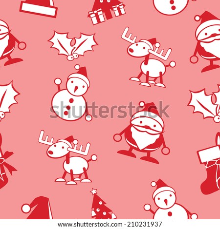simple Christmas seamless background vector include Santa, snowman, deer  - stock vector