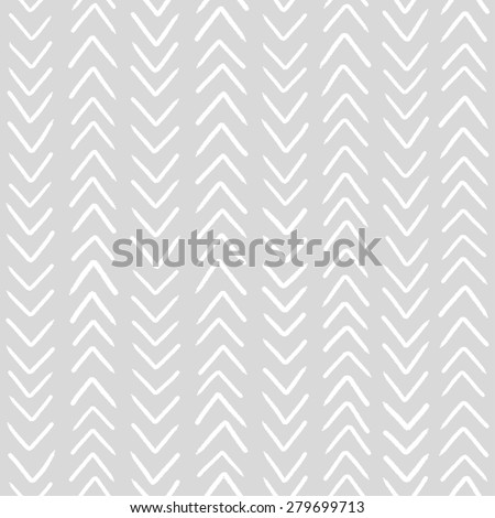 Simple classic herringbone pattern. Monochrome vector seamless pattern. Abstract hand drawn background in grey color. - stock vector