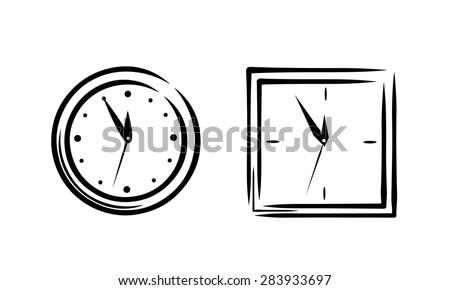 Simple clock sketch set 2in1 - stock vector