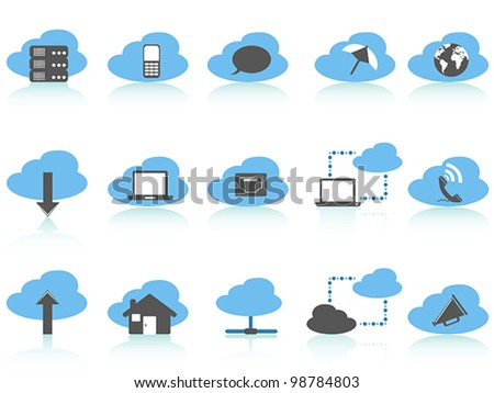 simple cloud computing icons set,blue series - stock vector