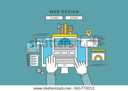 simple color line flat design of web design, modern vector illustration - stock vector