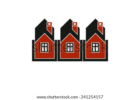 Simple cottages illustration, country houses, for use in graphic design. Real estate concept, region or district theme. - stock vector