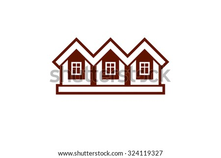 Simple cottages vector illustration, country houses, for use in graphic design. Building abstract image. - stock vector