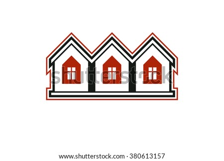 Simple cottages vector illustration, country houses, for use in graphic design. Real estate concept, region or district theme. Building company abstract corporate image. - stock vector