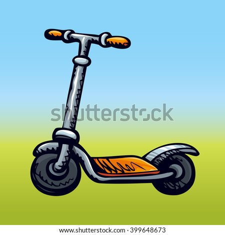 Simple cute little red scooter isolated on blue sky backdrop. Freehand bright color hand drawn picture sign sketchy in grunge art retro scribble style. Closeup side view with space for text - stock vector
