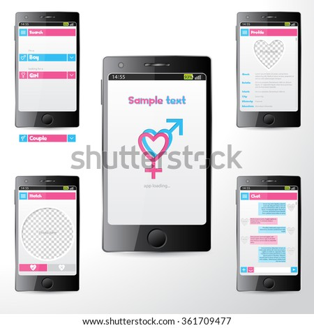 Simple dating mobile application user interface on smartphone screen - stock vector