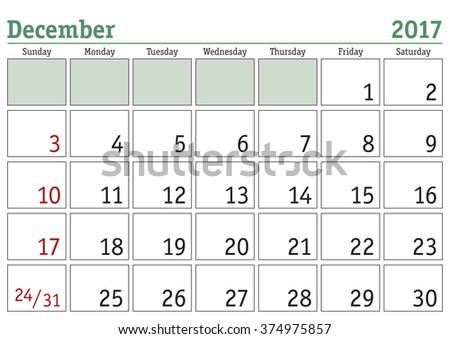 Simple digital calendar for December 2017. Vector printable calendar. Monthly scheduler. Week starts on Sunday. English calendar - stock vector